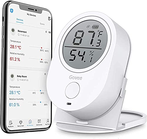 Govee Temperature Humidity Monitor, Bluetooth Room Humidity Sensor with APP Alert, 196 Feet Bluetooth Covering Range, 2 Year Data Record and Export