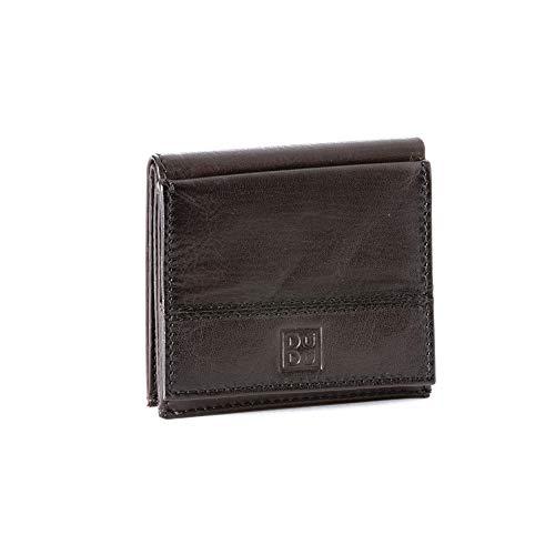 Portafoglio uomo in pelle con portamonete esterno e porta carte di credito DUDU Marrone scuro