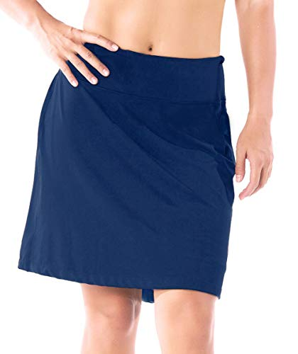 "Yogipace Women's Sun Protection 17"" Long Running Skirt Athletic Golf Skort with Tennis Ball Pockets Built in Shorts Navy Blue Size L"