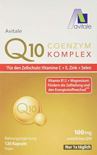 Avitale Coenzym Q10 Komplex Kapseln mit 100mg, rein pflanzlichem Coenzym Q10, Vitamin C, 120 Kapseln