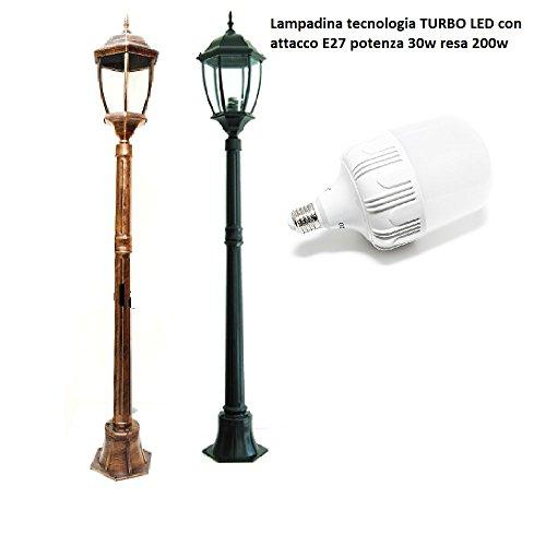 Lampe für den Garten h 180 cm turbo LED E27 30 W Laterne NewYork IP65 - weißes Licht Naturfinish Aluminium Schwarz