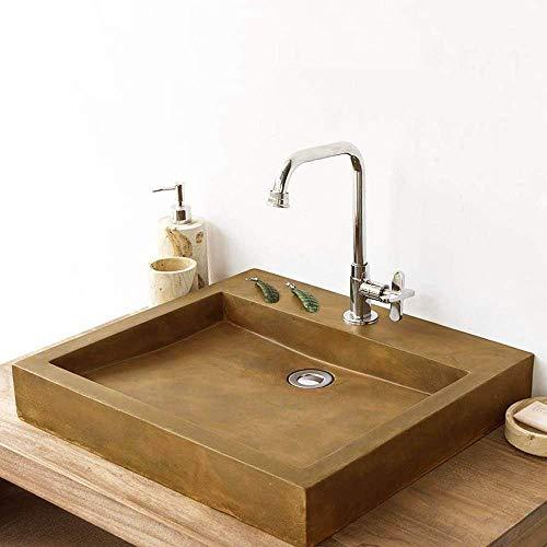 Magnus Home Products Belzoni Rectangular Cast Concrete Vessel Bathroom Sink, Vintage Brown, 19 3/4' L x 17 7/8' W, 57.0 lb