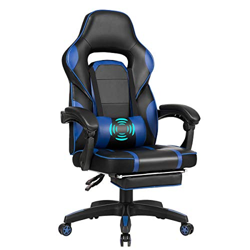 Giantex Massage Gaming Chair, Massage Lumbar Cushion and Retractable Footrest Racing Style Ergonomic High Back Office Chair, Adjustable Back Angle and Armrest Executive Computer Chair (Blue) chair gaming