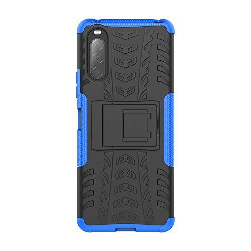 Rugged Armor Schutzhülle für Sony Xperia 10 II Hülle Handy Tasche Hybrid Case Schutz Handyhülle Panzer TPU Silikon Hard Cover Bumper für Sony Xperia 10 II-Blau