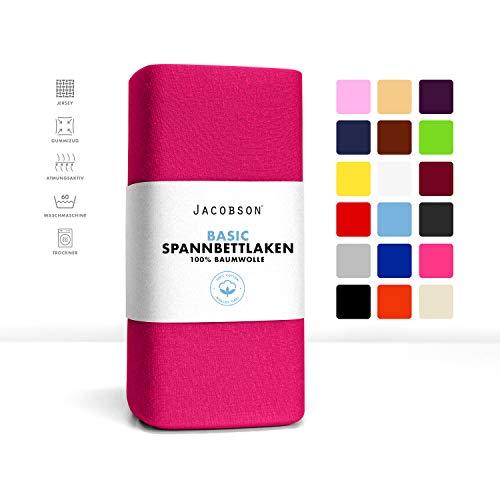#1 Jacobson Kinder Jersey Spannbettlaken, Spannbetttuch, Bettlaken, 60x120 – 70x140 cm, Pink