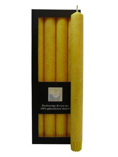Stearin Stabkerzen, 250 x 22 mm, Gelb, 4er-Pack, Bio - Kerzen / Stearin - Leuchterkerzen