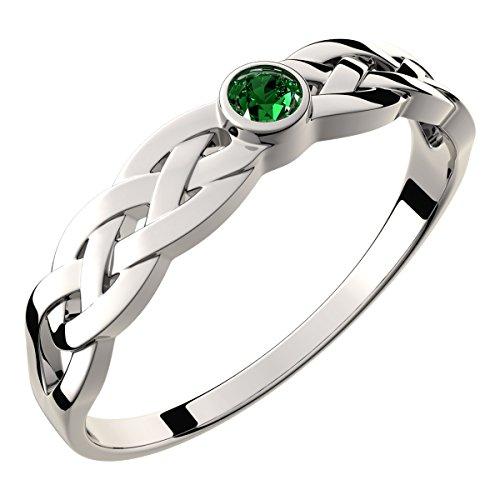 GWG Jewellery Anillos Mujer Regalo Anillo Plata de Ley Decorado con Nudo Celta y Circonita Redonda de Color Esmeralda Verde - 6 para Mujeres