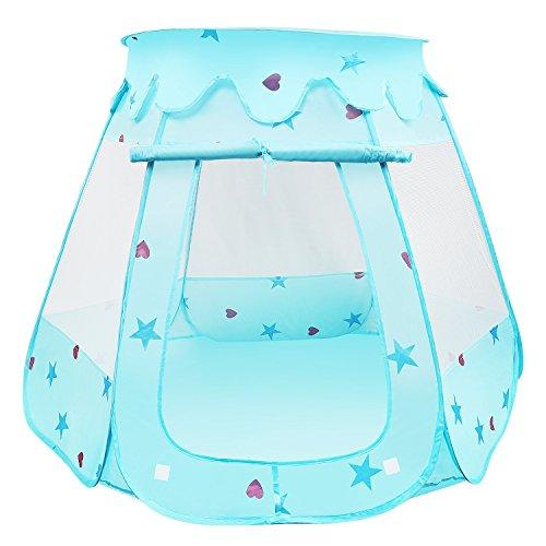 BelleStyle Kids Play Tent, Pop Up Princesa Boys Ball Pit House Castillo Plegable para niños en Interiores y Exteriores Uso (Azul)