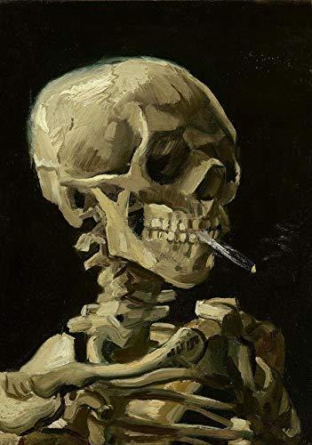 Desconocido Vincent Van Gogh Cuadros Foto Impresa Póster Arte Pintor Retrato Calavera de una Esqueleto con Burning Cigarette 024 (A5-A4-A3) - A3