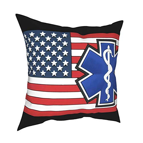 EMS DecorativeSlipSilkCushion Cover withHidden Zipper, Both Sides Anti-Allergy Pillow Covers Standard for Sofa ChairBed Car 18'x18' Inch