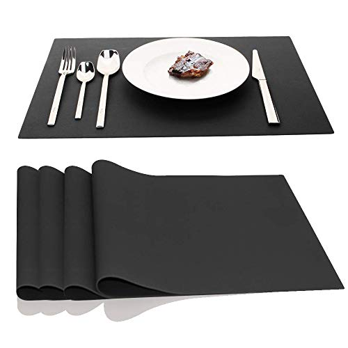 JYKJ Large Silicone Place Mats, Table Placemats Countertop Protection 17.7 x 12.6 inch, Set of 4 (Black)