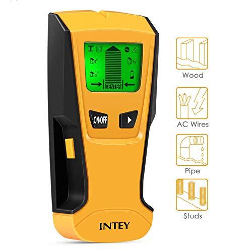 INTEY - Detector De Pared 3 EN 1 Pantalla LCD Detector De Pared para Detecta AC Cable ,Metal Tuberías,Madera En La Pared DCemento,Azulejos