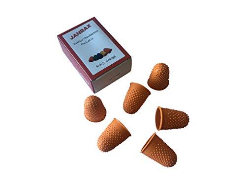 Paquete de 12 dedales de goma naranja n.º 3 – Dedal extra grande