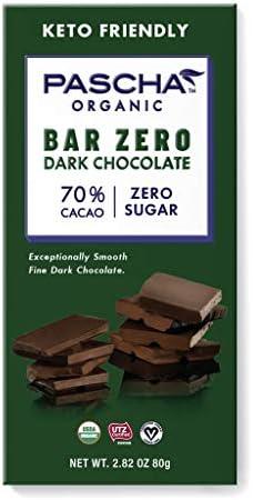 Pascha Organic Sugar Free Dark Chocolate Bars 70 Cacao UTZ Gluten Free Non GMO No Added Sugar product image