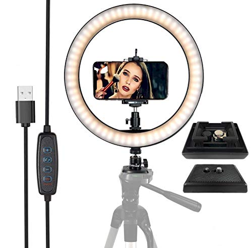 """DaVoice Tripod Quick Release Plate Replacement for Vivitar VPT-120/240/360 Barska Deluxe Celestron + LED Ring Light 10"""" with Tripod Stand & Phone Holder for Live Streaming, 3 Modes & 10 Bright Levels"""