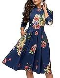 WangsCanis - Vestido de noche o fiesta para mujer, estilo informal, manga larga, cintura alta, falda en trapecio, estampado floral, estilo vintage, turquesa, XXL