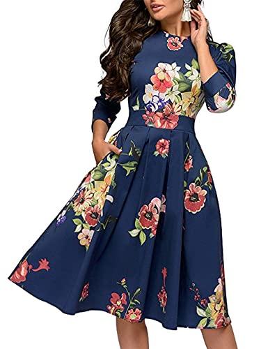 WangsCanis Vestido de noche para ceremonia de mujer, estilo informal, de manga larga, cintura alta, línea A, con estampado floral, turquesa, M