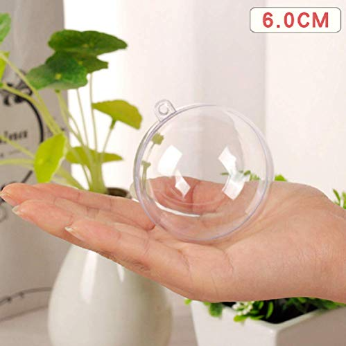 Uhat DIY Acrylic Fillable Baubles Assorted Size Clear Plastic Ornaments Ball Christmas Tree Decoration Pack 10 (6CM)