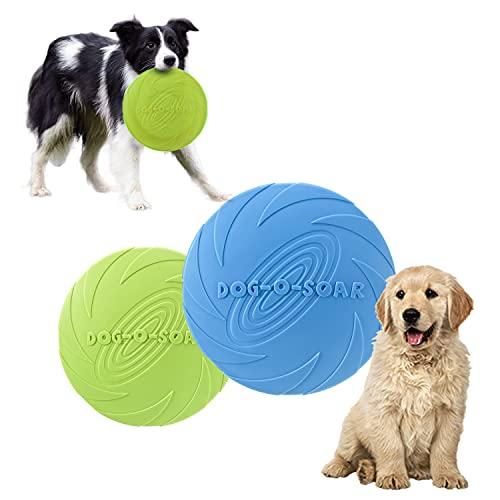 HENGBIRD 2 Stück Dog Frisbee Disc,Weiche Hunde Frisbee,Gummi Frisbee,Hundefrisbee,Hundespielzeug Frisbee,Interaktives Spielzeug für Hunde,Hund Scheibe,Spielzeug für Große Hunde