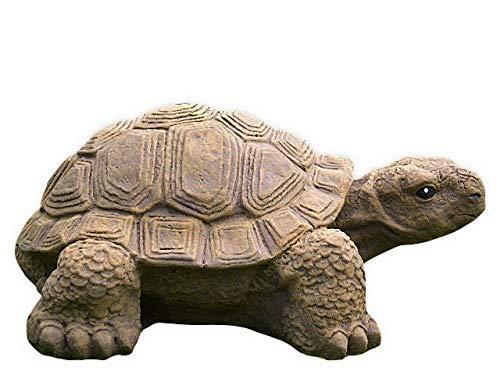 Tiefes Kunsthandwerk Gartenfigur Schildkröte groß - Hellbraun, Deko, Figur, Garten, Stein, frostsicher