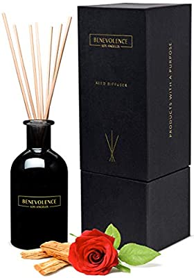 Reed Diffusers for Home | Rose & Sandalwood Fragrance Diffuser | Aromatherapy Scented Oil Reed Diffuser Set | Sticks Diffuser