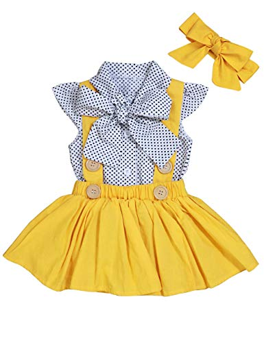 bilison Baby Girl Clothes Polka Dot Ruffles Sleeve Bowknot Shirt+Suspender Skirt with Headbands 3Pcs Summer Outfits(0-6M) Yellow