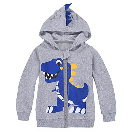 MIXIDON Niños Niños Sudadera con Capucha Dinosaurio Cremallera Sudadera con Capucha Sombreros Chaqueta Patrón 3 5 años