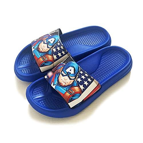 MYYLY Cosplay Avenger Zapatillas Capitán América Chanclas Niño Niña Playa Plantilla Verano Jardín Sandalias Junto Piscina Junto Piscina Sandalia Casual,Blue-180~Internal Length 17.5CM