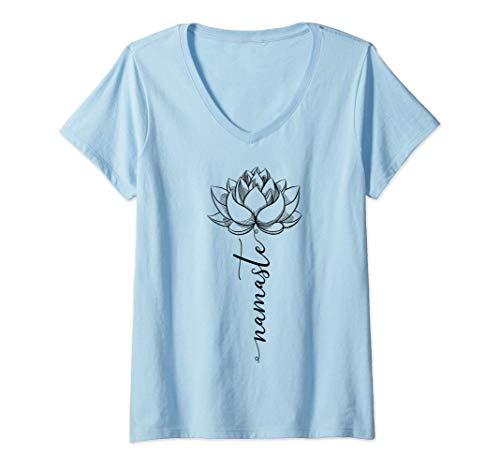 Donna Lotus Yoga Namaste Kundalini Sat Nam Wahe Guru Yogi Zen Maglietta con Collo a V