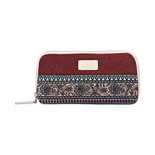 Dosige portemonnee voor dames in nationale stijl van linnen met korte ritssluiting, creatief, gemakkelijk te dragen 19x10x3cm Azul Y Amarillo