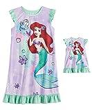 The Little Mermaid Princess Ariel Girls 4-8 Ruffled Dorm Nightgown & Doll Nightgown Pajamas (4) Purple