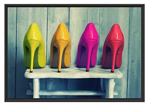Picati Bunte High Heels im Schattenfugen Bilderrahmen | Format: 100x70 | Kunstdruck auf hochwertigem Galeriekarton | hochwertige Leinwandbild Alternative