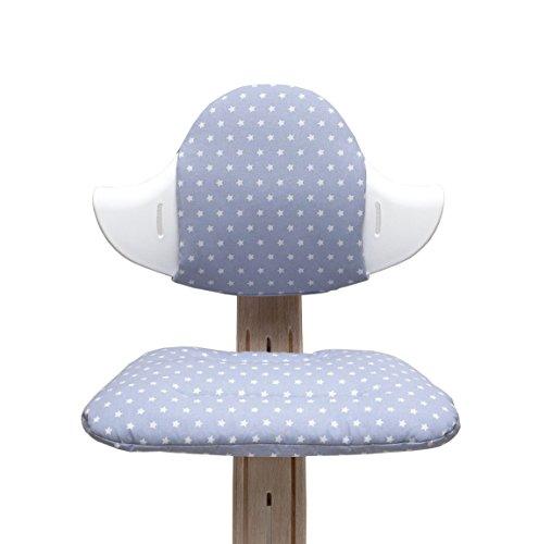 Blausberg Baby - Sitzkissen Set für Nomi Hochstuhl von Evomove - Grau/Touch Hellblau Stern
