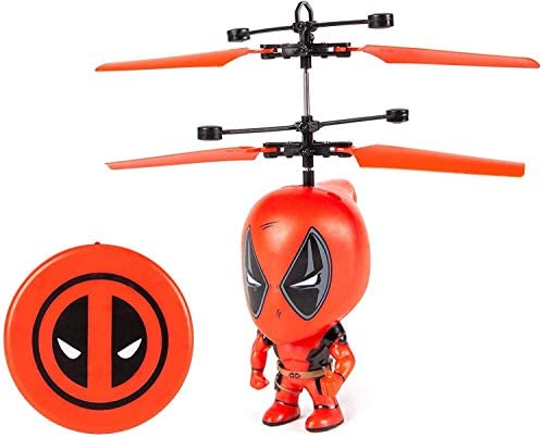 World Tech Toys Deadpool 3 5 Inch Flying Figure IR UFO Big Head Remote Control Marvel Helicopter product image