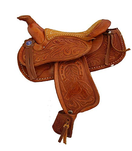 AJ Tack Wholesale Miniature Decoration Horse Saddle Tooled Leather 5' Seat Western Novelty Light...
