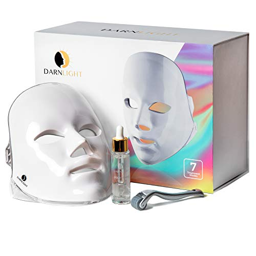 Darnlight LED Light Therapy Mask - 7 Color LED Face Mask Light Therapy Technology | Blue & Red Light Therapy Mask for Acne Fine Lines Wrinkles & Rosacea Treatment | 3 in 1 LED Facial Light Therapy Kit