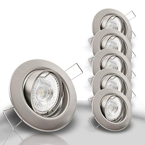 DECORA Decken Einbaustrahler extra flach 35 mm 230V 5x 400 Lumen LED 5,0W = 50W Warmweiss schwenkbar EDELSTAHL OPTIK gebürstet Spot Leuchtmittel austauschbar