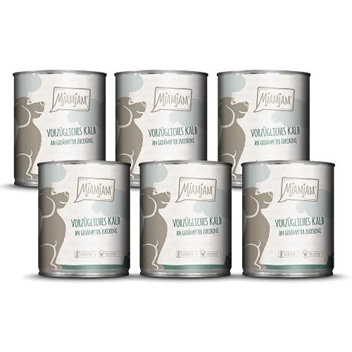 MjAMjAM - Premium Nassfutter für Hunde - vorzügliches Kalb an gedämpfter Zucchini, 6er Pack (6 x 800 g), getreidefrei mit extra viel Fleisch