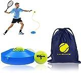 Set de entrenamiento tenis con pelota Wilson – innovador dispositivo deportivo para jugar y entrenar al aire libre, en el jardín, la terraza Incluye bolsa transporte vídeos ejercicios niños adultos