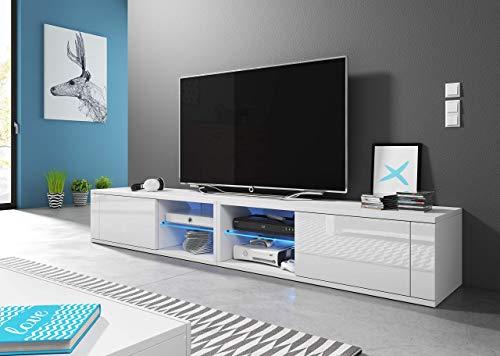 3xeLiving Azalia Soporte de TV Moderno Doble LED Blanco/Blanco Brillante 200cm