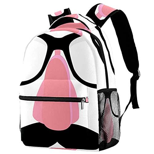 Z&Q Grundschule Schultasche Gefälschte Nase und Brillengestell Teenager Mädchen Schulrucksack ergonomischer Kinderrucksack Jugendliche 29.4x20x40cm