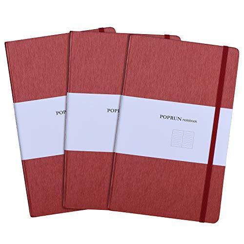 POPRUN Taccuino/Quaderno a Righe A5 con Copertina Rigida - Carta da 80 gsm, 192 Pagine, 21 x 13 cm, Rosso(Confezione da 3)
