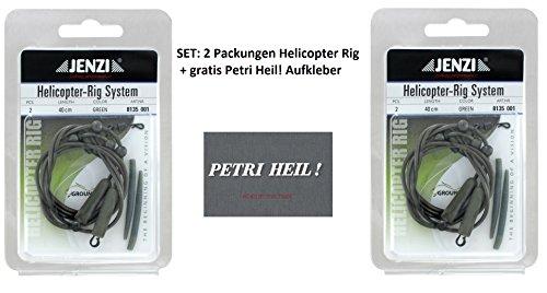 Jenzi Set: 2 Packungen Helicopter Rig (4 Sück)+ Gratis Petri Heil! Aufkleber