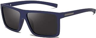 Fashion Driving Sun Glasses Male Rectangle Style Men's Sunglasses Polarized Flat Top Sunglasses Retro (Color : Blue)