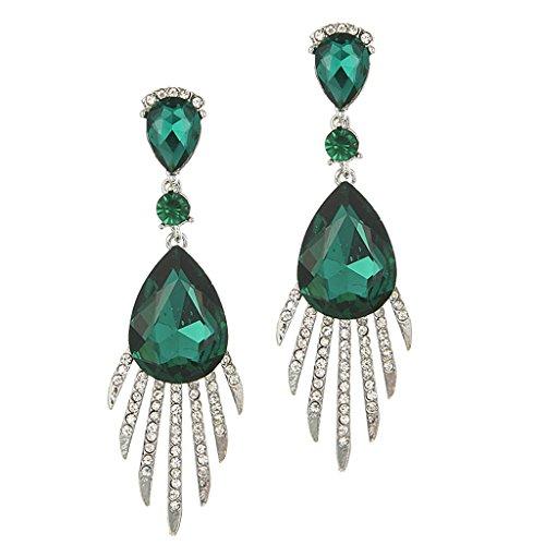Harilla 1 Par De Pendientes De Diamantes De Imitación Largos Coloridos De La Borla De La Vendimia Joyería De Las Mujeres - Verde, como se Describe