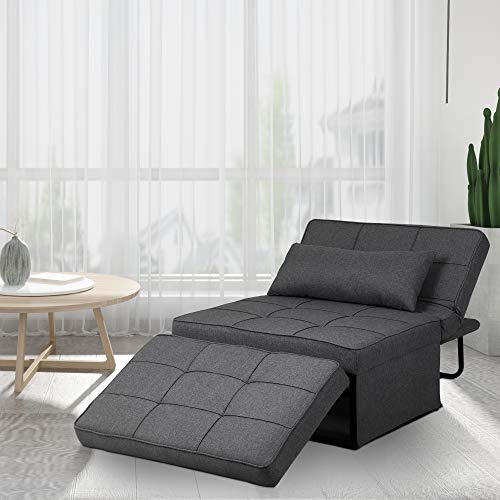 Saemoza Sofa Bed, 4 in 1 Multi Function Folding Ottoman Sleeper Bed, Modern Convertible Chair Adjustable Backrest Sleeper Couch Bed for Living Room/Small Apartment,Deep Grey