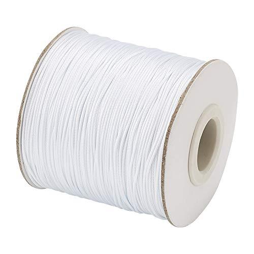 Cuerda de hilo de algodón encerado de 100 m de Cheriswelry, 1,5 mm, color blanco