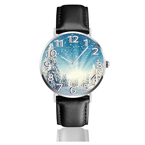 Árbol de Navidad Manteles Individuales Reloj de Cuero de Invierno Relojes de Pulsera Resistente a los arañazos Reloj de Cuarzo Relojes Ligeros y duraderos