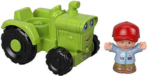 Fisher-Price Mattel – GGT39 Little People – Landwirt und grüner Traktor – Set mit Little People Figur und Fahrzeug