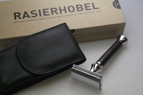 TIMOR Rasierhobel mit Wengeholz-Griff - offener Kamm - Inklusive Lederetui, Designed and Made in Germany